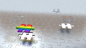 Un arcobaleno e tre Grey Pieces che sfugge dai pezzi grigi del pavimento Illustrazione di Stock