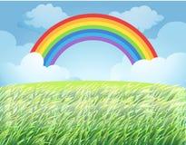 Un arcobaleno sopra risaia royalty illustrazione gratis