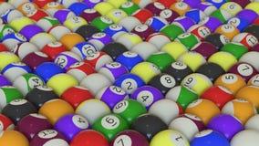 Un arsenal firmemente lleno de bolas de piscina al azar foto de archivo libre de regalías