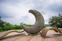 Un arte de instalación de la forma de la luna en mundo de la luna de Taiwán Tianliao, el paisaje renombrado de similar fotografía de archivo libre de regalías