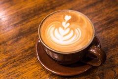 Un'arte del latte della tazza di caffè Fotografia Stock Libera da Diritti