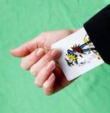 Un as encima de su jocker de la manga imagen de archivo libre de regalías
