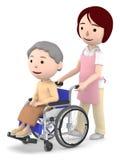 Un assistente femminile da aiutare con una signora anziana che si siede su una sedia a rotelle, illustrazione 3D Fotografia Stock