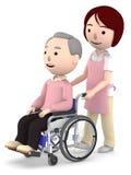 Un assistente femminile da aiutare con un uomo anziano che si siede su una sedia a rotelle, illustrazione 3D Fotografia Stock Libera da Diritti