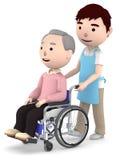 Un assistente maschio da aiutare con un uomo anziano che si siede su una sedia a rotelle, illustrazione 3D Immagini Stock Libere da Diritti