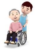 Un assistente maschio da aiutare con un uomo anziano che si siede su una sedia a rotelle, illustrazione 3D Immagine Stock