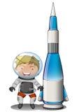 Un astronauta sorridente accanto ad un dirigibile illustrazione vettoriale