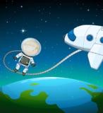 Un astronaute dans l'espace extra-atmosphérique Photo libre de droits