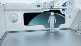 Un astronaute sur un vaisseau spatial observant l'Uranus photographie stock
