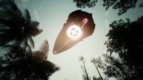 Un'astronave che sorvola un pianeta verde sconosciuto Un concetto futuristico di un UFO rappresentazione 3d royalty illustrazione gratis