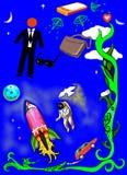 Un'astronave con il cosmonauta e la sfera di affari illustrazione di stock