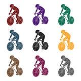Un atleta con un casco que monta su bici en el campo cycling el active se divierte el solo icono en símbolo negro del vector del  Foto de archivo libre de regalías
