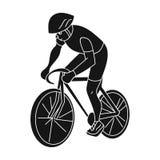 Un atleta con un casco que monta su bici en el campo cycling el active se divierte el solo icono en símbolo negro del vector del  Fotografía de archivo libre de regalías