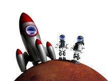 Un atterraggio di due astronauti su Marte Immagine Stock