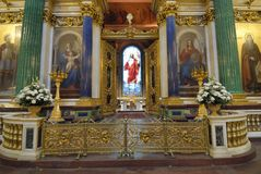 Un autel d'église Photo libre de droits