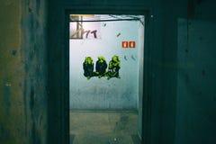 Un autoadesivo saggio di tre scimmie su una parete incrinata Immagini Stock