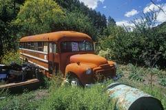 Un autobús de los desperdicios en un pueblo fantasma en Holanda, New México Foto de archivo libre de regalías