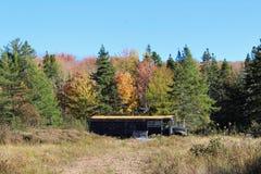 Un autobús escolar abandonado pintó negro y sentarse en un claro en las colinas del bretón rural del cabo en otoño Imagen de archivo libre de regalías