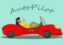 Un'automobile arancio del fumetto che si muove senza un autista Fotografie Stock