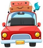 Un'automobile ed i bagagli di viaggio sulla cima illustrazione di stock