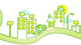 Un'automobile elettrica guida in una città ecologicamente pulita illustrazione di stock