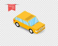 Un'automobile gialla semplice del giocattolo con un'ombra Illustrazione di vettore su fondo trasparente isolato royalty illustrazione gratis