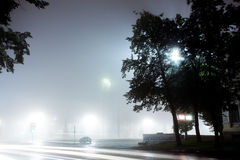Un'automobile sola guida lungo la via vuota della città alla notte dopo pioggia Fotografia Stock