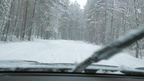 Un'automobile sta determinando lungo un sentiero forestale nevoso nelle precipitazioni nevose archivi video