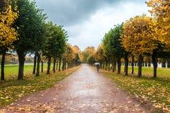 Un autunno in un parco Kuskovo a Mosca immagine stock