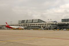 Un avion d'Air Berlin à l'aéroport international de Stuttgart, M Photographie stock