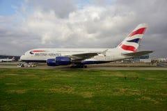 Un avion d'Airbus A380 de British Airways (BA) Image libre de droits