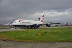 Un avion d'Airbus A380 de British Airways (BA) Photos libres de droits