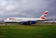 Un avion d'Airbus A380 de British Airways (BA) Images libres de droits