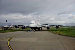 Un avion d'Airbus A380 de British Airways (BA) Photographie stock libre de droits