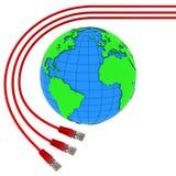 Un avvolgere rosso dei tre cavi del Internet intorno alla terra Fotografia Stock
