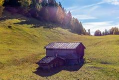 Un'azienda agricola a distanza sulle alpi svizzere in autunno Fotografie Stock Libere da Diritti