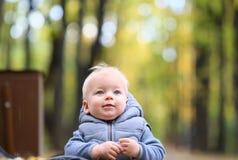 Un bébé garçon an en parc d'automne Images stock