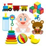Un bébé mignon de bande dessinée de vecteur et de différents jouets et objets Image stock