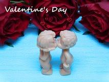 Un bacio per il giorno del ` s del biglietto di S. Valentino Immagini Stock