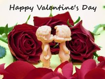 Un bacio per il giorno del ` s del biglietto di S. Valentino Immagine Stock