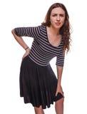 Un backac joven más bajo de la mujer del osteochondrosis de lesión femenina trasera del dolor Imagen de archivo