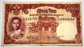 Un baht thaï plus ancien du billet de banque 100 Photo stock
