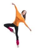 Un bailarín de sexo femenino joven en ropa deportiva atractiva Imágenes de archivo libres de regalías