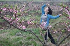 Un baile bonito de la mujer en jardín del melocotón Fotografía de archivo libre de regalías