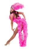Un baile caucásico del bailarín de la samba de la mujer aislado en blanco en integral Fotos de archivo