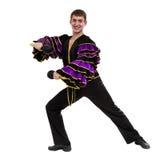 Un baile caucásico del bailarín de la samba del hombre aislado en blanco en integral Imagen de archivo libre de regalías
