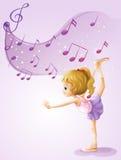 Un baile de la muchacha con las notas musicales ilustración del vector