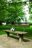 Un balón de fútbol en un banco de parque fotografía de archivo libre de regalías