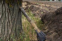 Un balai sale oublié près d'un arbre dans un jardin à côté d'un champ Image libre de droits