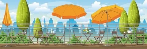 Un balcón, una terraza con las tablas y sillas libre illustration